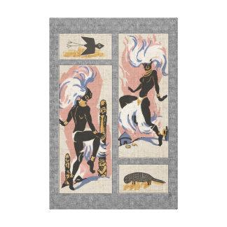 Modern Retro Tribal Dancers_Black_Gray_Pink_Blue Canvas Print