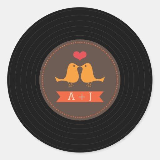 Modern Retro Vinyl Record Love Birds Brown Sticker