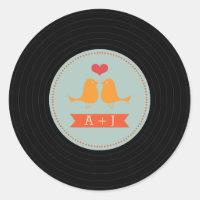 Modern Retro Vinyl Record Love Birds Sky Blue Classic Round Sticker