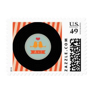 Modern Retro Vinyl Record Love Birds Sky Blue Stamp