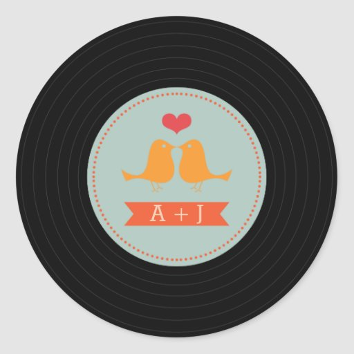 Modern Retro Vinyl Record Love Birds Sky Blue Stickers