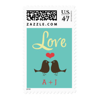Modern Retro Vinyl Record Love Birds Wedding Postage Stamp