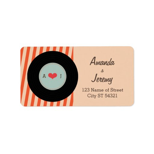 Modern Retro Vinyl Record Orange / Sky Blue Personalized Address Label