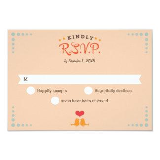 Modern Retro Vinyl Record Orange Sky Blue RSVP Card