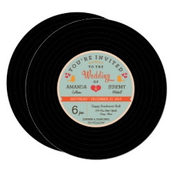 Modern Retro Vinyl Record Orange Sky Blue Wedding Card