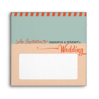 Modern Retro Vinyl Record Orange Sky Blue Wedding Envelope