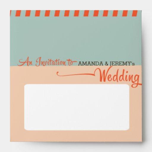 Modern Retro Vinyl Record Orange Sky Blue Wedding Envelope