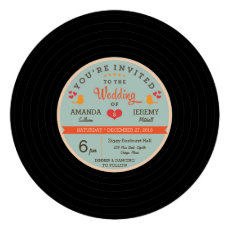 Modern Retro Vinyl Record Orange Sky Blue Wedding Personalized Announcements