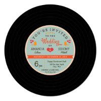 Modern Retro Vinyl Record Orange Sky Blue Wedding Invitation