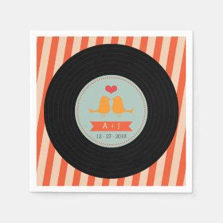 Modern Retro Vinyl Record Orange Sky Blue Wedding Napkin