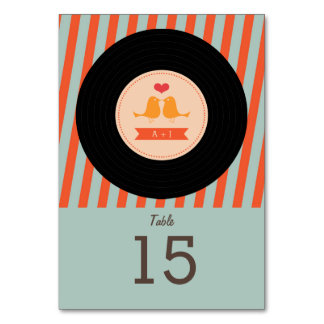 Modern Retro Vinyl Record Orange Sky Blue Wedding Table Cards