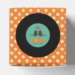 Modern Retro Vinyl Record Orange Wedding Party Favor Boxes