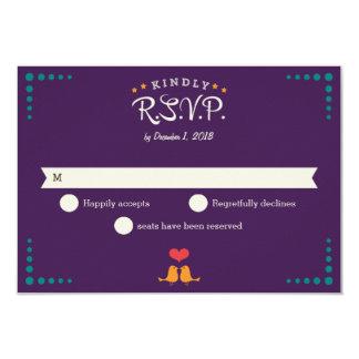 Modern Retro Vinyl Record Purple Aqua RSVP Card
