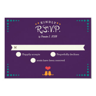 Modern Retro Vinyl Record Purple Aqua RSVP 3.5x5 Paper Invitation Card