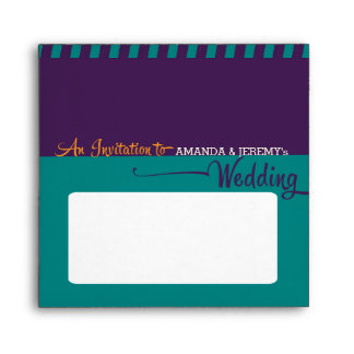 Modern Retro Vinyl Record Purple Aqua Wedding Envelope
