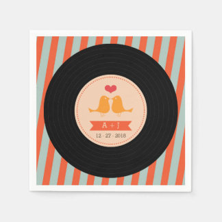Modern Retro Vinyl Record Sky Blue Orange Wedding Napkin