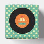 Modern Retro Vinyl Record Teal Wedding Party Favor Boxes