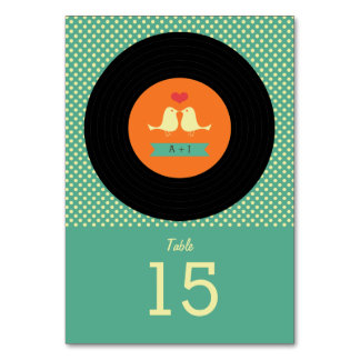 Modern Retro Vinyl Record Teal Wedding Table Cards