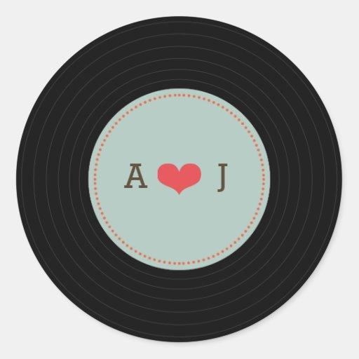 Modern Retro Vinyl Record Wedding Blue Envelope Round Stickers