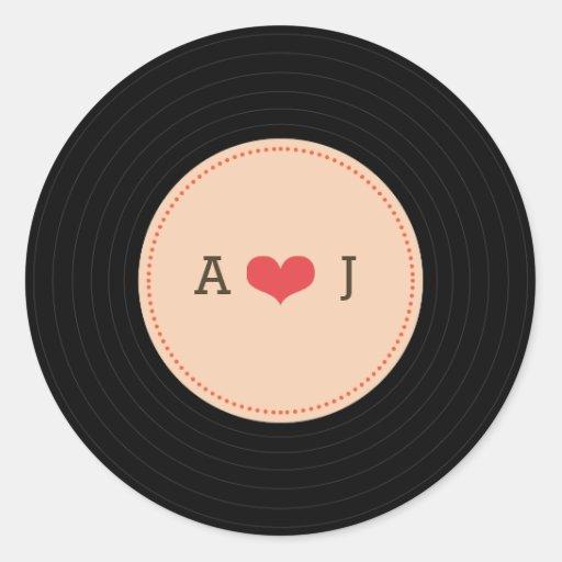 Modern Retro Vinyl Record Wedding Blush Envelope Sticker