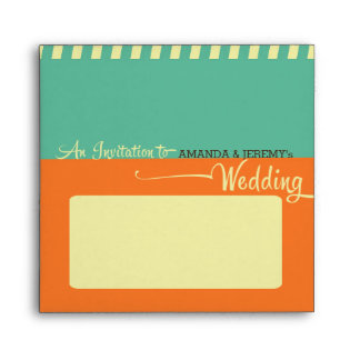 Modern Retro Vinyl Record Wedding Envelope