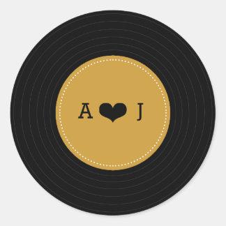 Modern Retro Vinyl Record Wedding (Gold / Black) Classic Round Sticker