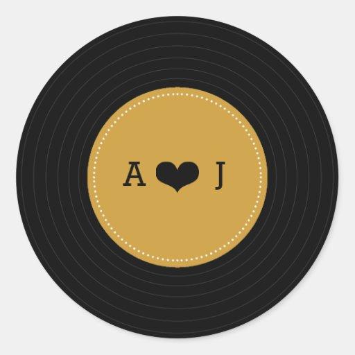 Modern Retro Vinyl Record Wedding (Gold / Black) Stickers
