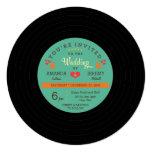 """Modern Retro Vinyl Record Wedding 5.25"""" Square Invitation Card"""