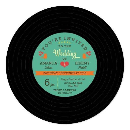 modern retro vinyl record wedding invitation