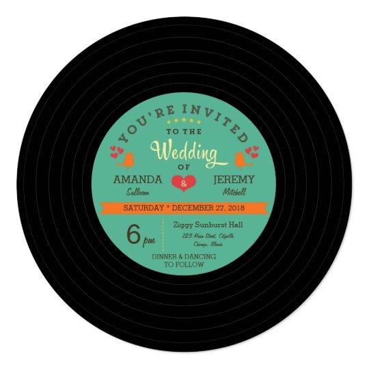 Modern Retro Vinyl Record Wedding Invitation Zazzle Com
