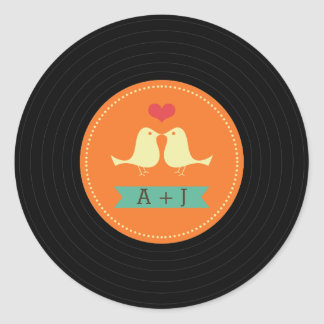Modern Retro Vinyl Record Wedding Orange Classic Round Sticker