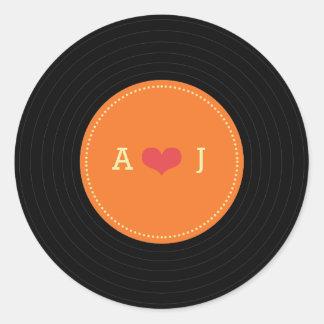 Modern Retro Vinyl Record Wedding Orange Favor Classic Round Sticker