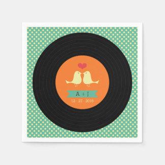 Modern Retro Vinyl Record Wedding Paper Napkin