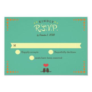 Modern Retro Vinyl Record Wedding RSVP 3.5x5 Paper Invitation Card
