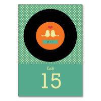 Modern Retro Vinyl Record Wedding Table Number