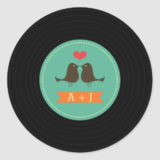 Modern Retro Vinyl Record Wedding Teal Classic Round Sticker