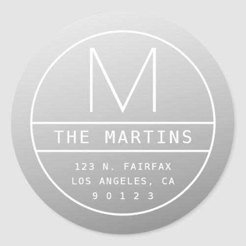 Modern Return Address  Monogram  Gradient Grey Classic Round Sticker