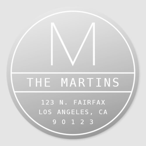 Modern Return Address  Monogram  Misty Grey Classic Round Sticker