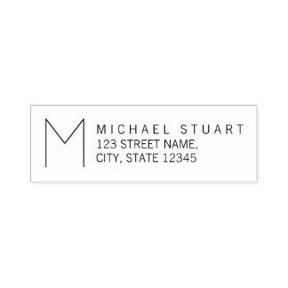 Modern Return Address with Monogram Self-inking Stamp