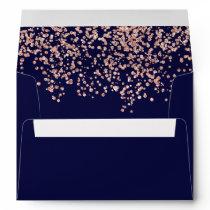 Modern return rose gold glitter navy blue confetti envelope