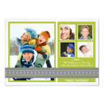 Modern Ribbon Custom Family Holiday Card (lime)