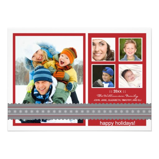 Modern Ribbon Custom Family Holiday Card (red)
