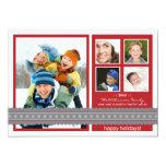 Modern Ribbon Custom Family Holiday Card (red) Custom Invitations
