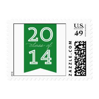 Modern Ribbon Graduation Postage - Green Stamp