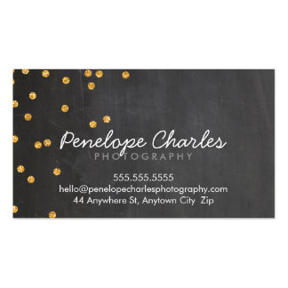 MODERN rich gold glitter confetti dots chalkboard Double-Sided Standard Business Cards (Pack Of 100)