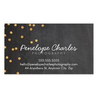 MODERN rich gold glitter confetti dots chalkboard Business Card Templates