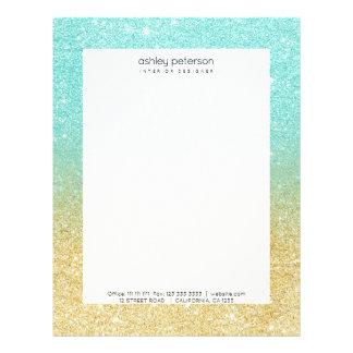 Modern robbin egg blue glitter ombre gold glitter letterhead