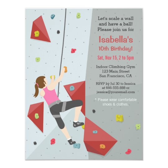 Modern Rock Climbing Birthday Party Invitations Zazzle Com