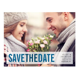 Modern Romance Blue | Photo Save the Date Postcard