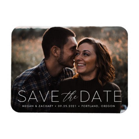 Modern Romance White Overlay Save the Date Photo Magnet